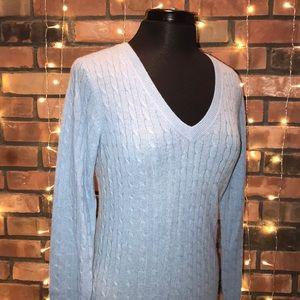 Tweeds Light Blue Cashmere V-Neck Sweater Soft